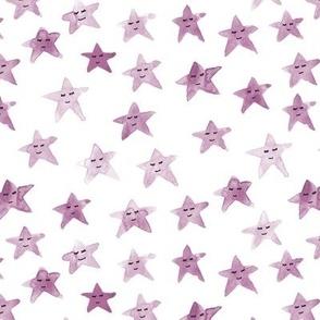 Fandango sleeping smiling stars - watercolor starry dreamy pattern for modern sweet nursery kids baby - sute night sky - a060