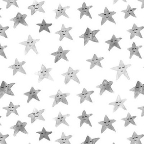 Platinum sleeping smiling stars - grey watercolor starry dreamy pattern for modern sweet nursery kids baby - sute night sky a60