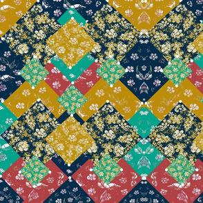 Bohemian Mid-Century Modern  Vintage layered Scrap Fabric Block Print  Oriental Patchwork 8