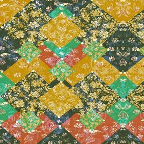 Bohemian Mid-Century Modern  Vintage layered Scrap Fabric Block Print  Oriental Patchwork 7