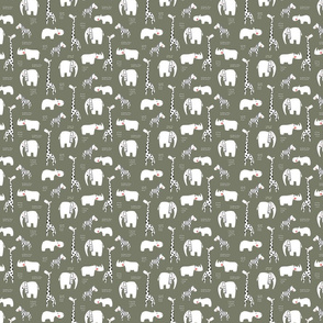 African animals in green