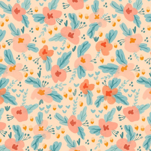 Watercolor Floral in Peach Teal Light Yellow Medium Scale