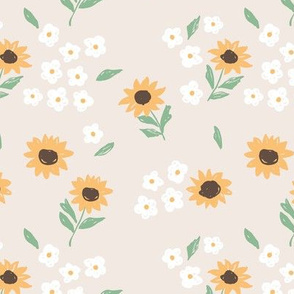 Summer sunflowers and daisies flower garden boho leaves and blossom nursery design sand beige yellow green neutral pastels
