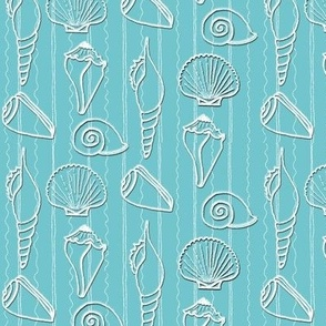White Shells and Stripes on Turquoise
