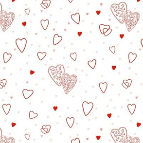 Ornate Hearts Red on White