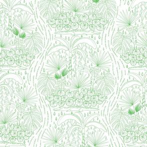 Tropical Damask - Lime on White - Jumbo