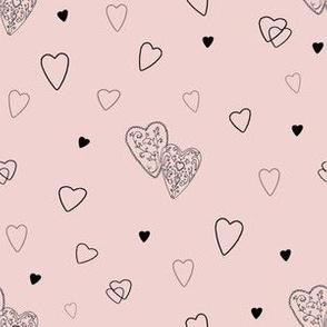 Black Hearts on Blush Pink