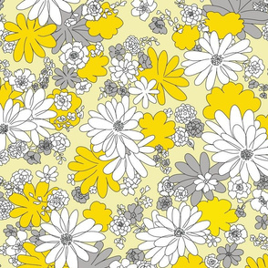 Retro Flowers in Yellow and Gray