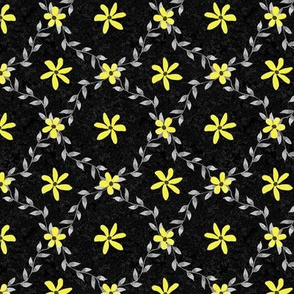 Med Gray Vines and Yellow Flowers on Black Texture