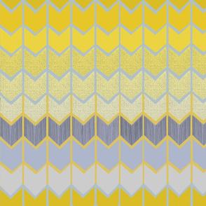 Contemporary Tribal Arrows - Yellow Gray