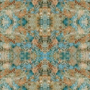 CML1 - Medium - Crystallized Mineral Landscape in Turquoise and Rust