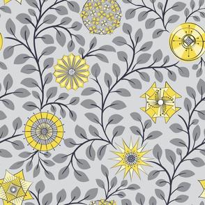 Retro Midcentury Flowers - Grey Yellow
