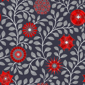 Retro Midcentury Flowers - Grey Red