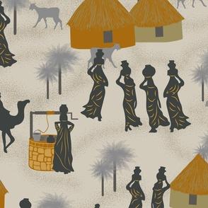Desert Village Life- Jonquil Gold Honey Warm Gray Platinum Charcoal- Large Scale