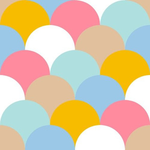 SCALES - bubble gum pink, baby blue, bright yellow, beige, white, aqua / turquoise