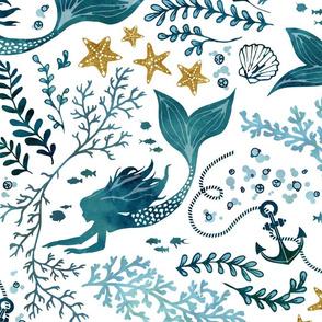 Mermaid ocean white & gold large - more mermaids