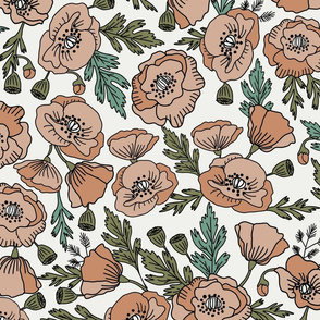 JUMBO LARGE PRINT poppies floral fabric - poppy flower, spring floral fabric, autumn floral fabric, baby fabric, nursery fabric, poppies nursery, baby girl bedding - neutral