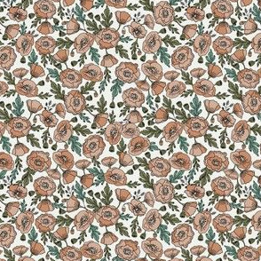 MINI poppies floral fabric - poppy flower, spring floral fabric, autumn floral fabric, baby fabric, nursery fabric, poppies nursery, baby girl bedding - neutral