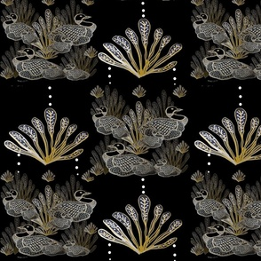 Gold & Black Deco Canadian Loon Ducks With Gold Reef Pendant  Pattern On Black