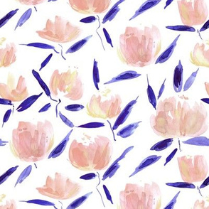 Apricot painterly watercolor stylised peonies for modern home decor bedding nursery - florals flowers 080