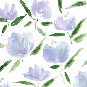 Amethyst painterly watercolor stylised peonies for modern home decor bedding nursery - florals flowers 080 -3