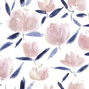 painterly watercolor stylised peonies for modern home decor bedding nursery - florals flowers 080 -5