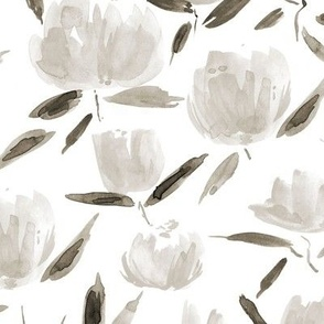 Neutral painterly watercolor stylised peonies for modern home decor bedding nursery - florals flowers 080 -6