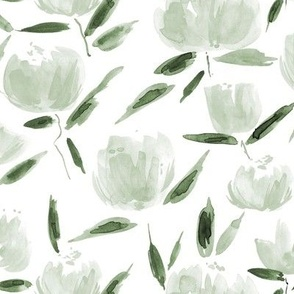 Jade green painterly watercolor stylised peonies for modern home decor bedding nursery - florals flowers 080 -7