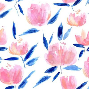 Pink and blue painterly watercolor stylised peonies for modern home decor bedding nursery - florals flowers 080 -1