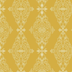 One Line Damask Yellow