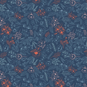 Floral-Multicolor-Dark Blue