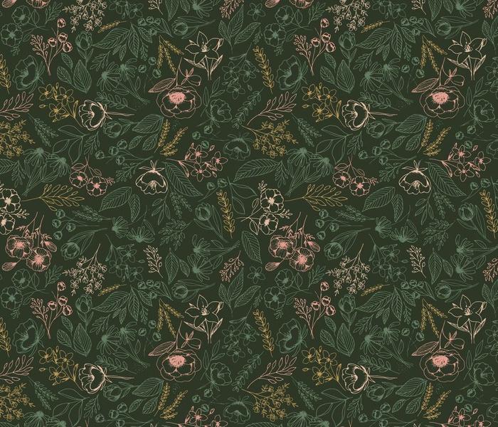 Floral-Multicolor-Dark Green