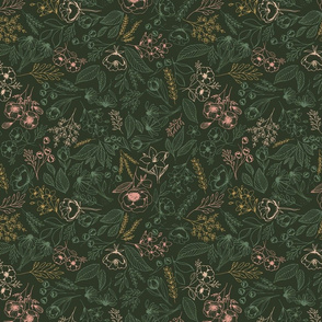 Floral-Multicolor-Dark Green