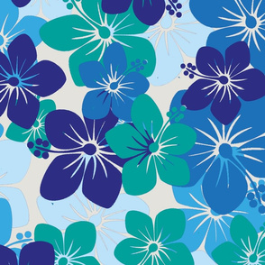 Cool Hibiscus Blue Green - Large Scale