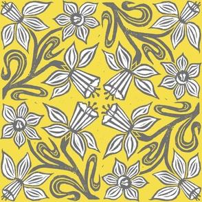 Block Print Daffodils- Large Scale, Yellow Ground