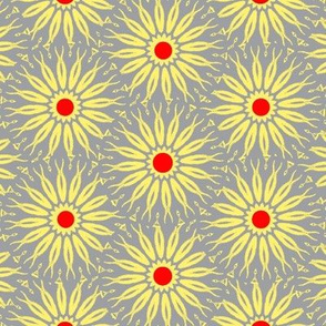 Yellow and Gray - Zebra Daisies with Red Center