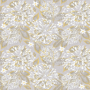 Yellow and Gray Zinnia w Leaves n Flowers jumbo