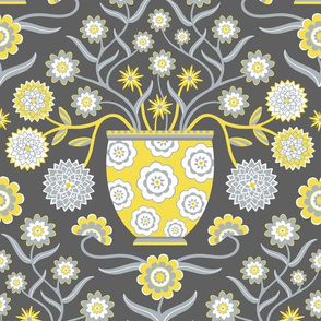Jardiniere Damask with Flowers in Tall Vase in Yellow and Gray - LARGE Scale -  UnBlink Studio by Jackie Tahara