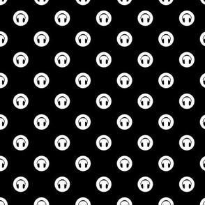 Headphones Black & White Circle Pattern with Black Background (Mini Scale)