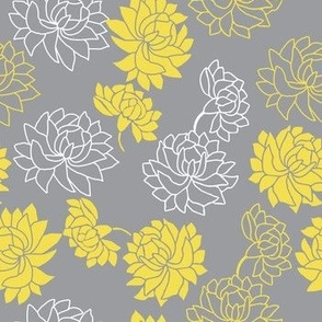 Yellow flowers in gray background