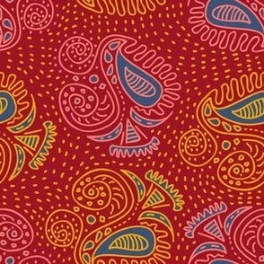 Indian Red Gold Blue Boho