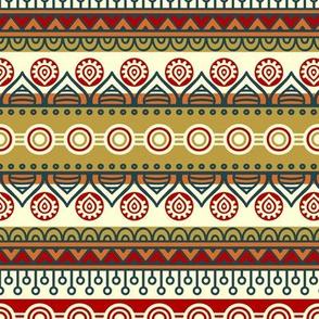Red Gold Tribal Boho Stripes