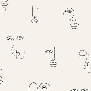 The minimalist faces picasso surrealism style inspired line drawing in ink ivory off white black