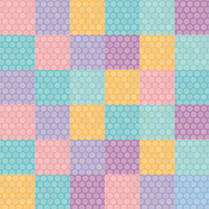 Polka dot background seamless pattern with orange pink lilac blue square.