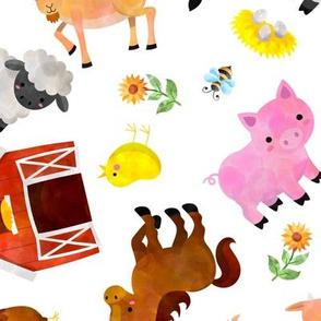 Cute Animals On The Farm Watercolor
