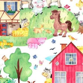 watercolor farm animals barn tractors