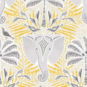 ganesa damask soft yellow  with linen texture - medium scale