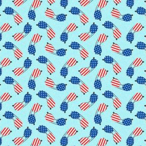 (small scale) flag sunglasses - light blue - LAD21