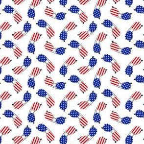 (small scale) flag sunglasses - white - LAD21