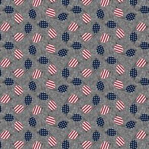 (small scale) flag sunglasses - navy on dark grey - LAD21